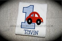 Boys Little Red Car Personalized Birthday Shirt by LondonStitches, $24.00