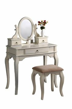 Amazon.com - Bobkona Rylan Vanity Set with Stool, Antique White - Makeup Table Vanity