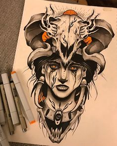 "265 mentions J'aime, 9 commentaires - Jakob Holst Rasmussen (@jakobholst_tattoo) sur Instagram : ""Went pretty dark with this markerdrawing. About 5 hours or so. Very much inspired by the fantastic…"""