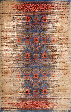 The infusion of blue and red is stunning! This is Rugs USA's Ashlina Distressed Botanical Lattice GZ14 Rug!