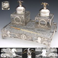 RARE Museum Quality Antique French Sterling Silver & Cut Glass or Crystal 3pc Double Inkwell or Inkstand, French Empire Style
