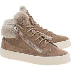 GIUSEPPE ZANOTTI Velour Caramello // Fur lined leather sneakers