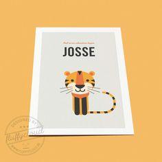 Kleurrijk geboortekaartje met tijger - FluffyCloud Geboortekaartjes