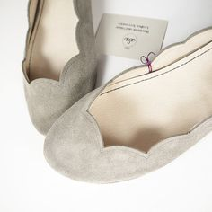 Gray Suede Scalloped Ballet Flats