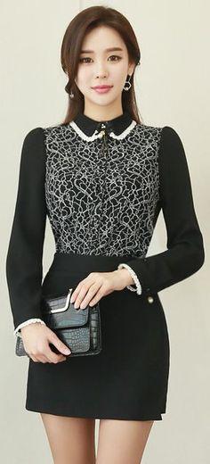 StyleOnme_Pearl Brooch Mini Wrap Skort #black #mini #skirt #pants #elegant #feminine #koreanfashion #kstyle #seoul #dailylook #kfashion