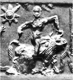 Gilgamesh wrestling the Bull of Heaven - Cylinder Seal