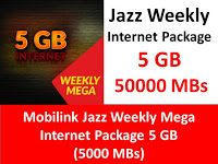 Jazz Weekly 3g 4g Internet Package Mega 5 Gb 5000 Mbs Internet Packages 4g Internet Jazz Internet