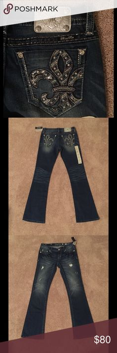 Miss Me Signature Boot JY7641B Boot cut, embroidered and embellished pockets, distressed. 93% cotton, 6% polyester, 1% elasterell. Machine wash cold. Miss Me Jeans Boot Cut