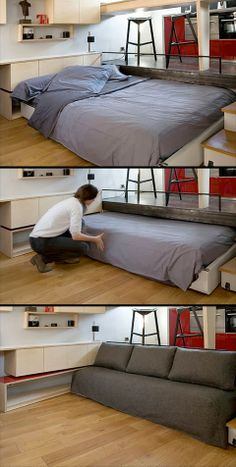 Space-Saving Bed Design  Clever space-saving bed design. Comfortable bed transforms into a sofa or stays hidden underneath the floor of the kitchen area. Sliding platform makes transformation easy.  #interiordesigns #furnituredesign