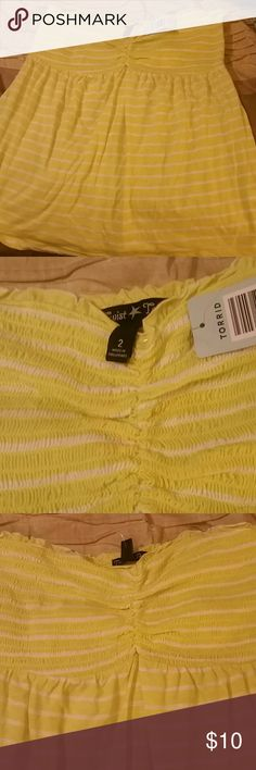 NWT women's Yellow stripe tube top Flowy, yellow and white striped tube top. Torref, size 2. New with Tags. torrid Tops