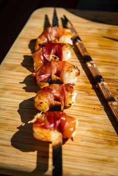 Proscuitto Wrapped Shirmp on Flat Cedar Skewers  http://www.anotherpintplease.com/2013/07/the-inside-story.html