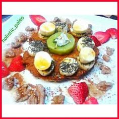 Delicious breakfast pancake topped with fresh fruit, raw organic walnuts, chia seeds, coconut flakes & maple syrup. Paleo, gluten, dairy & sugar free. #breakfast#paleo#glutenfree#dairyfree#superhealthy#sugarfree#freshingredients#fitnessfood#fitnessfoodie#
