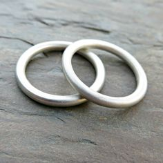 Set of 2 Perfectly Round Heavy Sterling Band Stacking Rings - Minimalist Matching Wedding Ring Set - Thick Full Round Rings, Halo Rings Matching Wedding Band Sets, Simple Wedding Bands, Wedding Matches, Halo Rings, Minimalist Jewelry, Stacking Rings, Just For You, Etsy, Fashion
