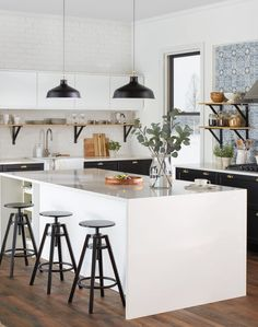 Ikea SEKTION/VOXTORP white kitchen - I like the white counters and upper shelves combined with the dark lower cabinets