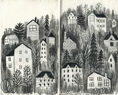 CREATIVITY CLUB You can make beautiful drawings with a simple naive style. This is by JooHee Yoon. The buildings are nestled within the darkness of trees, evenly spaced and yet each house is a little different creating a pattern within the image.