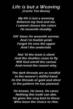 Corrie Ten Boom.  I heard Corrie Ten Boom lecture when I was in high school.  She told the story of this poem so eloquently that we sat in complete silence listening to her.