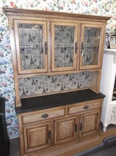 SOLD - French Cafe china hutch with 2 drawers & triple door cabinet in base, triple lead glass door on top, painted and distressed.  ***** In Booth H13 at Main Street Antique Mall 7260 E Main St (east of Power RD on MAIN STREET) Mesa Az 85207 **** Open 7 days a week 10:00AM-5:30PM **** Call for more information 480 924 1122 **** We Accept cash, debit, VISA, Mastercard, Discover or American Express