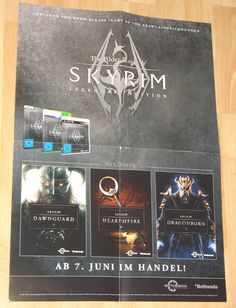 The Elder Scrolls V Skyrim Legendary Edition 41x59cm very rare German Poster