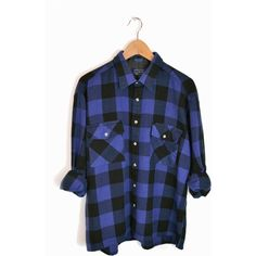 Vintage Black & Blue Buffalo Plaid Flannel Shirt - xl ($36) ❤ liked on Polyvore featuring tops, shirts, flannel, long sleeves, buffalo check shirt, flannel shirts, shirt tops, blue long sleeve shirt and flannel top
