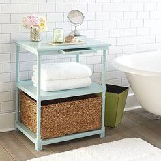 Temporary Solutions for Renters Design Series – 10 Creative Bathroom Ideas Small Bathroom Table, Bathroom Storage, Bathroom Ideas, Bathroom Organization, Bathroom Furniture, Master Bathroom, Girl Bathrooms, Bathroom Colors, White Bathroom