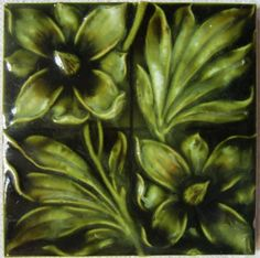 Antique English Art Nouveau Majolica Tile