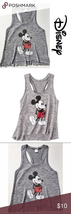 Heathered Gray Mickey Knitted Tank L Gently worn Disney tank with distressed Mickey image. The distressed look on Mickey was not caused by washing or wear, it was purchased that way. Disney Tops Tank Tops