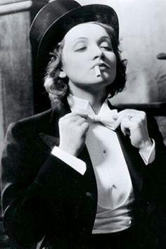 Beautiful Marlene Dietrich in Morocco 1930 in top hat & tails in man drag smoking. (please follow minkshmink on pinterest)