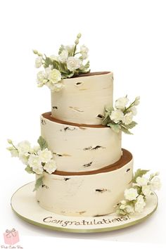 Birch & Wildflower Baby Shower Cake for a rustic themed shower!