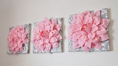 Nursery Wall Art SET OF THREE Light Pink Dahlia on by bedbuggs, $93.00