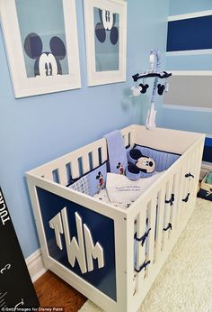 Mickey everywhere! Mickey Mouse was undoubtedly the main event in the little one's nursery, with his face making an appearance on just about every surface