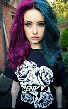 split dyed hair in dark blue and red violet hair colors #splitdyedhair #haircolor #hairdye