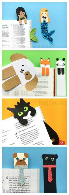 "Oh how we love a Paper Bookmark DIY. Here are some cute and quirky ""Hug a Book"" Bookmark DIYs. Aren't they the cutest? The Tie & Pug Bookmark cracks me up (perfect for Father's Day or male teachers), the Mermaids are just adorable. Love them all. The best bit? Learn how to make them from scratch or make use of the FREE Bookmark Templates. Your choice! How we love Creative Bookmark DIY Ideas."