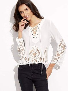 Shein White Lace Up V Neck Embroidered Lace Insert Top Hijab Fashion, Fashion Outfits, Womens Fashion, Tattoo Dentelle, Style Casual, Kinds Of Clothes, Lace Insert, Embroidered Lace, Ladies Dress Design