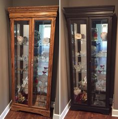 Oak curio cabinet before and after using Annie Sloan chalk paint in Graphite with dark wax. No sanding, no priming. Just paint and wax!