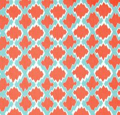 Designer Coral & Turquoise Blue Ikat Geometric by CottonCircle