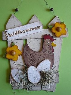 Wooden Country Door Sign with Hen and Eggs