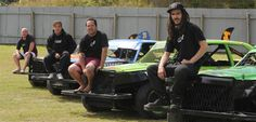 Lining up to compete at the New Zealand streetstock championships at Beachlands Speedway this weekend are brothers (from left) Cody, Travis, Brendon and Sean Gooch. Photo by Craig Baxter.