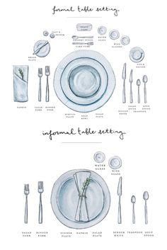 Formal and informal place settings infographic. Our simple diagram shows the proper table setting for casual and elegant occasions. How to place your dishes, glasses, silverware/cutlery and napkins for a beautiful table setting. Great for weddings, dinner Proper Table Setting, Table Place Settings, Beautiful Table Settings, Everyday Table Settings, Simple Table Setting, Dinner Table Settings, Table Setting Diagram, Casual Table Settings, Easter Table Settings