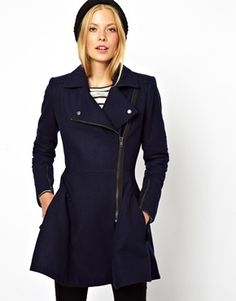 ASOS Skater Coat With Biker Details for $77.13 (orig $154.27) #asos #coat