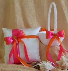 pink and orange wedding ring pillow and flower basket