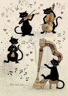 Four Cool Cats - Bug Art greeting card