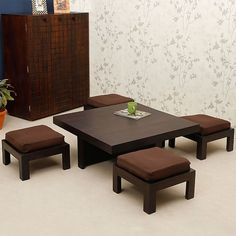Trendz Tanner One Coffee Table With Four Stools,Living Room Furniture Home Decor Furniture, Dining Furniture, Furniture Design, Dinning Table Design, Coffee Table Design, Coffee Table With Seating, Wooden Sofa Set Designs, Indian Home Decor, Sofa Design