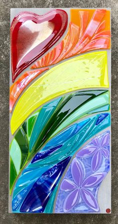 Items similar to Rainbow Glass Art by Shelly Batha Big Island Hawaii on Etsy Broken Glass Art, Sea Glass Art, Glass Wall Art, Stained Glass Art, Mosaic Glass, Shattered Glass, Glass Fusion Ideas, Glass Fusing Projects, Glass Art Design