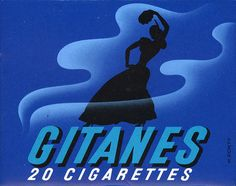 """Gitanes"" Cigarettes', French Vintage Pack of Cigarettes, 'new' Graphic Brand Cover, - Graphic Design by Max Ponty (b. 1904 - d. Vintage Cigarette Ads, Cigarette Brands, Cigarette Case, Graphisches Design, Graphic Design, French Brands, Teenage Years, Vintage Advertisements, Vintage Posters"