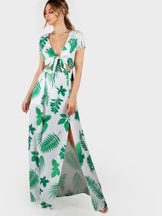 Leaf Print Front Tie Leg Split Dress GREEN