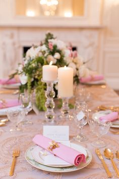Romantic pink and gold tablescape. #pink #wedding #ideas
