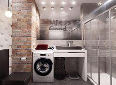 В дизайне ванных стиля лофт также используется отделка стен под кирпич