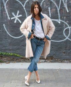 Manteau boyfriend + veste en jean = le bon duo !