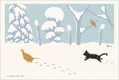It is Japanese scenery and the illustration of the catpheasants.