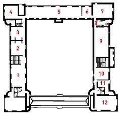 1° ETAGE:  1) Appartement du Connétable. 2) antichambre de Madeleine de Savoie 3) chambre de Madeline de Savoie  4) Pavillon d'Abigail. 5) Galerie de Psyché. 6) CABINET DU ROI- 7) CHAMBRE D'HENRI II . 8) ESCALIER DE LA COUR DES COMPTES. 9) GRANDE SALLE DU ROI. 10) Cuirs de Scipion. 11) Vitraux du château d'Ecouen. 12) Broderies de l'Arsenal.